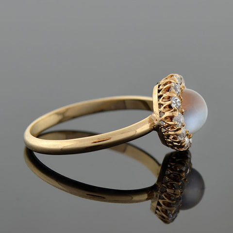 Late Victorian Delicate 14kt Moonstone & Diamond Ring