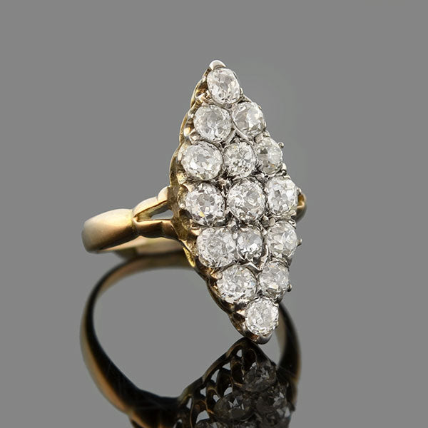Victorian 15kt/Sterling Pavé Diamond Navette Ring