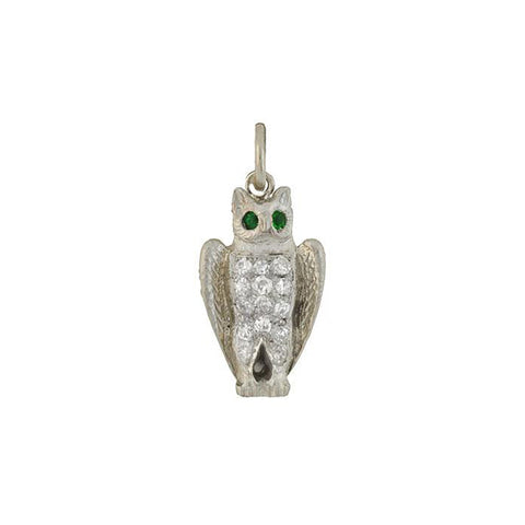 Art Deco Platinum Diamond & Emerald Owl Charm/Pendant