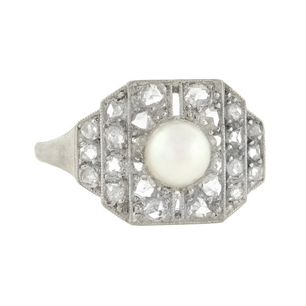 Edwardian Platinum Rose Cut Pave Diamond & Pearl Ring