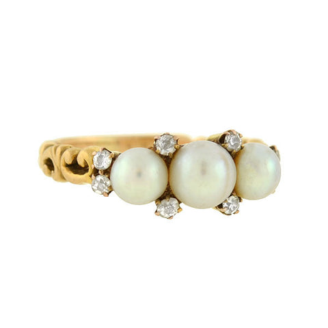 Victorian 14kt Pearl Trio & Diamond Ring