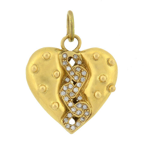 Vintage 18kt Diamond Dotted Heart Pendant .50ctw