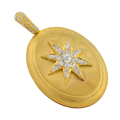 Victorian 14kt Raised Diamond Starburst Locket 1.10ctw