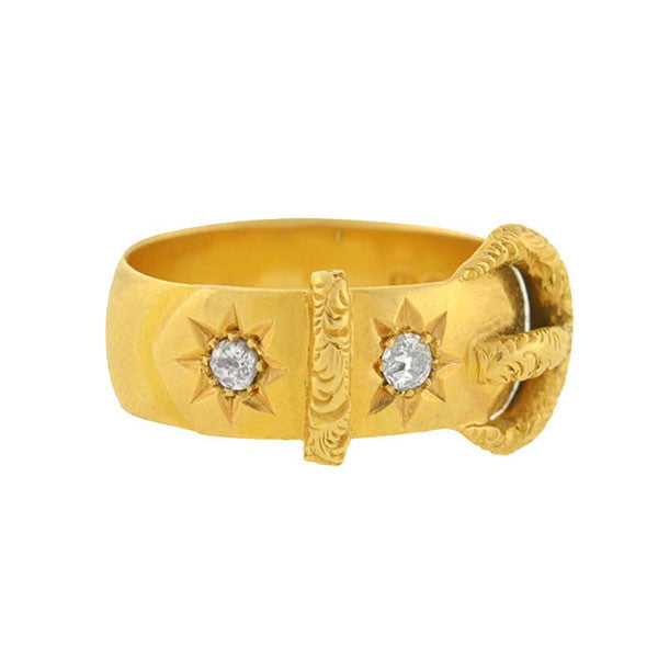 Victorian 18kt Gold Buckle Band Ring with Diamonds