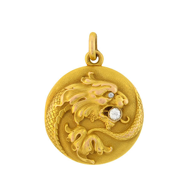Art Nouveau 14kt Diamond & Repousse Dragon Locket