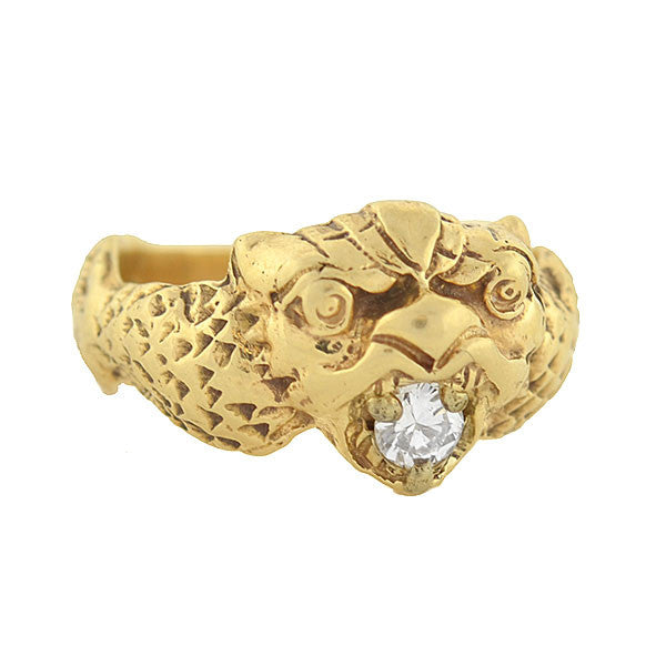Victorian 14kt Mythological Creature Diamond Ring .20ct