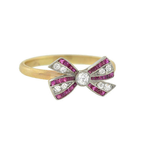 Edwardian 14kt & Platinum Diamond Ruby Bow Ring