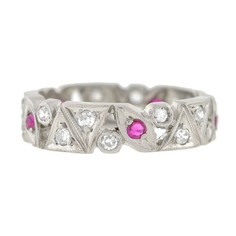 Art Deco Platinum Diamond & Ruby Cutout Band