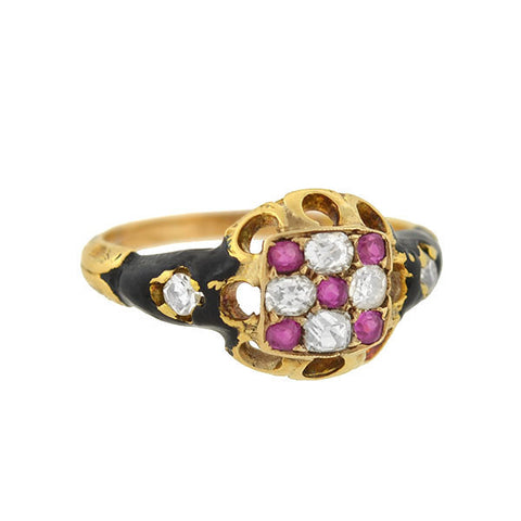 Early Victorian Rare 18kt Ruby Diamond & Enamel Checkerboard Ring
