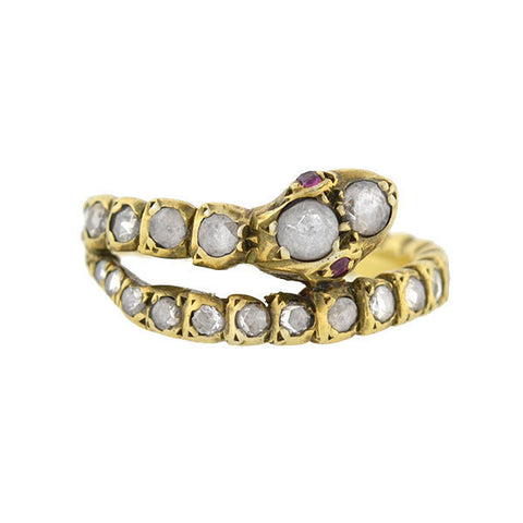 Georgian 18kt Rose Cut Diamond Snake Ring
