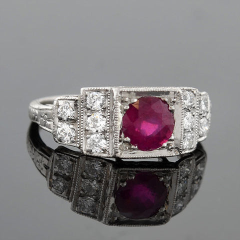 Art Deco Platinum Ruby & Diamond Step Up Ring 1.00ct