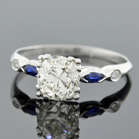Art Deco Platinum Diamond & Sapphire Engage Ring 1.24ct