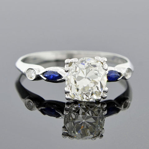 Art Deco Platinum Diamond & Sapphire Engage Ring 1.32ct