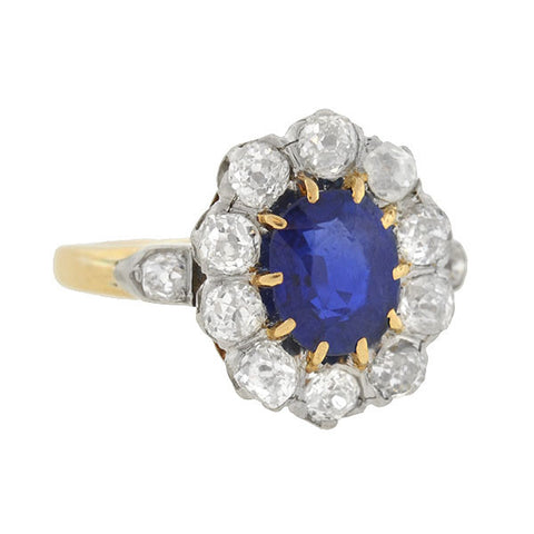 Edwardian 18kt Diamond and Sapphire Ring 1ct center