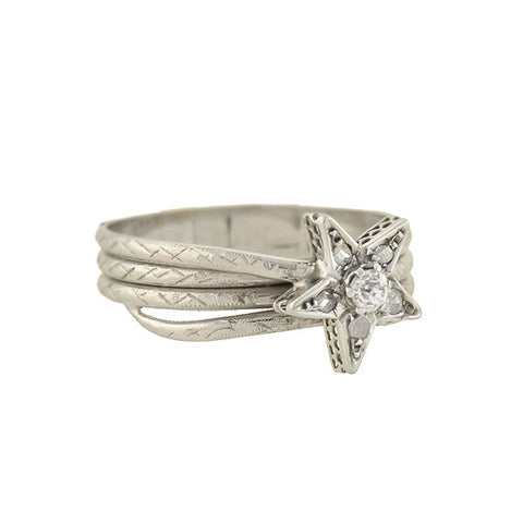 Late Art Deco French 18kt Diamond Etched Shooting Star Ring