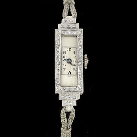 Art Deco Platinum/Rolled Gold Plate & Diamond Step Watch