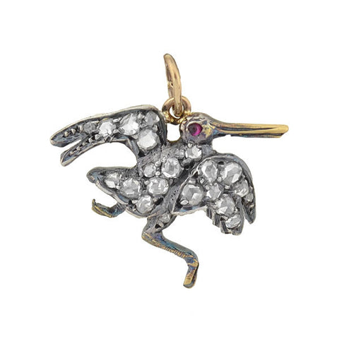 Victorian Silver 14kt Rose Cut Diamond Bird Charm