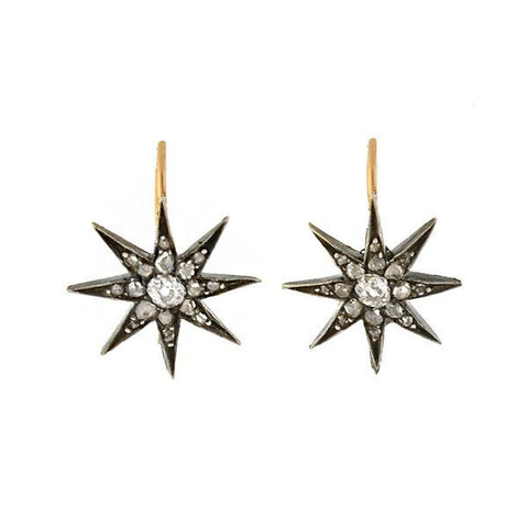 Early Victorian Petite 14kt/Sterling Rose + Mine Cut Diamond Star Earrings