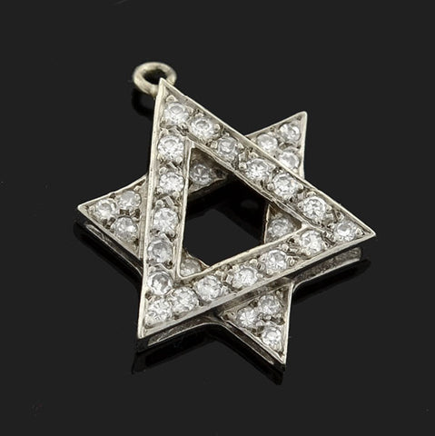 Estate 14kt Diamond Star of David Pendant