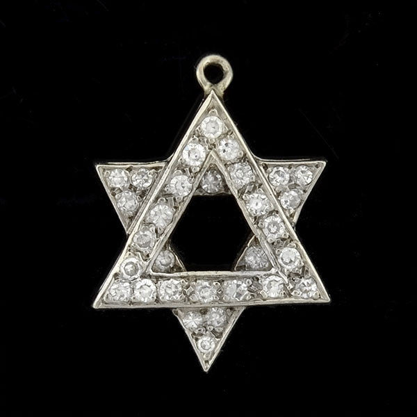 Estate 14kt Diamond Star of David Charm/Pendant