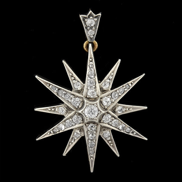 Victorian Sterling/14kt Diamond Starburst Pin & Pendant 1.00ctw
