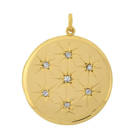 Victorian 14kt Mine Cut Diamond Multi Starburst Locket