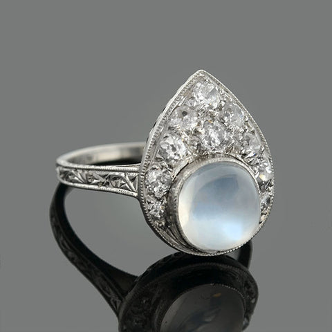 Edwardian Platinum Moonstone & Diamond Ring