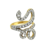Retro 14kt Mixed Metals Diamond Snake Ring 0.35ctw