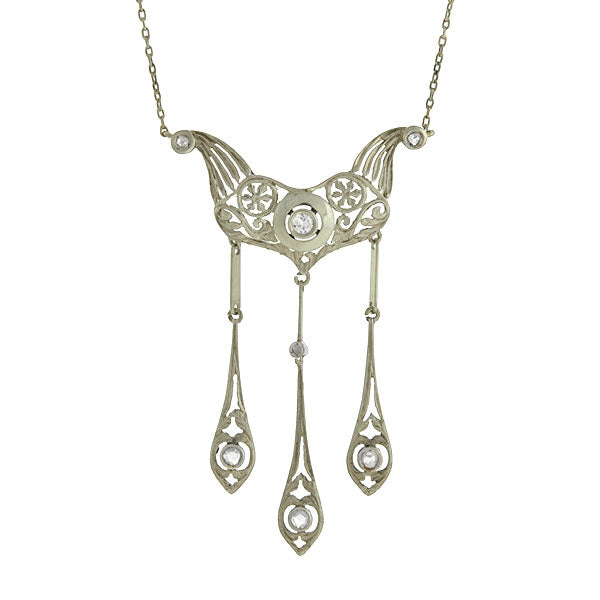 "Art Nouveau 10kt Diamond & Filigree ""Wings"" Lavalier Necklace"