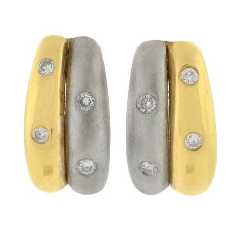 Estate 14kt Two-Tone Diamond Half-Hoop Stud Earrings