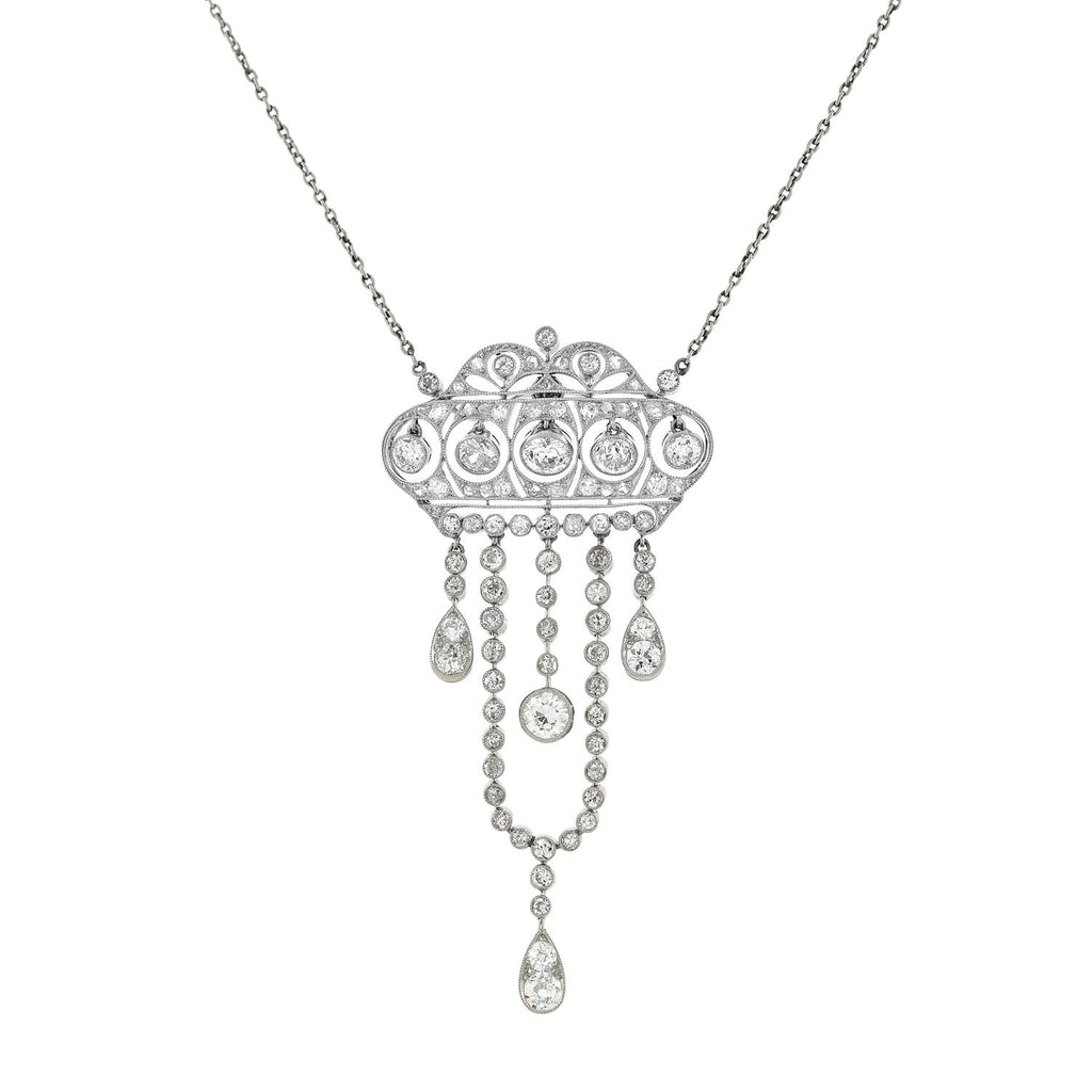 Edwardian Platinum Diamond Dangling Crown Pendant Necklace 3.48ctw