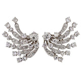 Late Retro Dramatic Platinum Diamond Clip Earrings 8ctw
