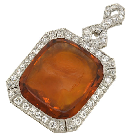 Art Deco Platinum Carved Citrine Cameo + Diamond Pendant