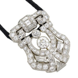 Art Deco Platinum Diamond Clip Pendant Necklace 2.30ctw