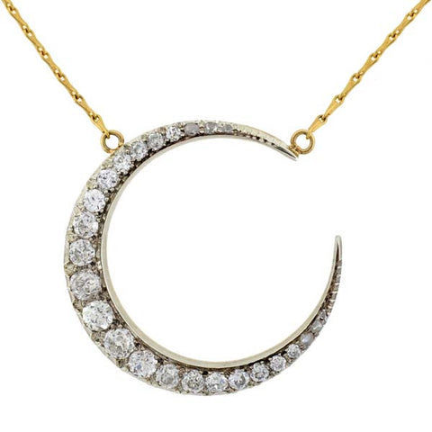Victorian 18kt Sterling Diamond Crescent Necklace 4.5ctw