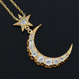 Victorian 18kt Diamond Crescent & Star Necklace 1.20ctw