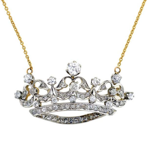 Edwardian Platinum & 14kt Diamond Crown Necklace 1.50ctw
