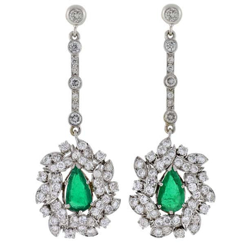 Retro 18kt Emerald & Diamond Drop Earrings