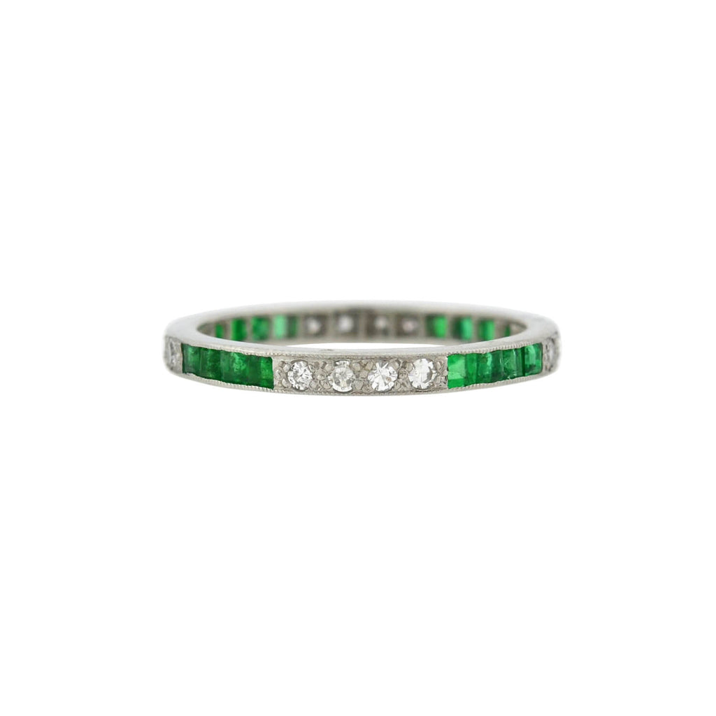 Art Deco Platinum Emerald + Diamond Eternity Band