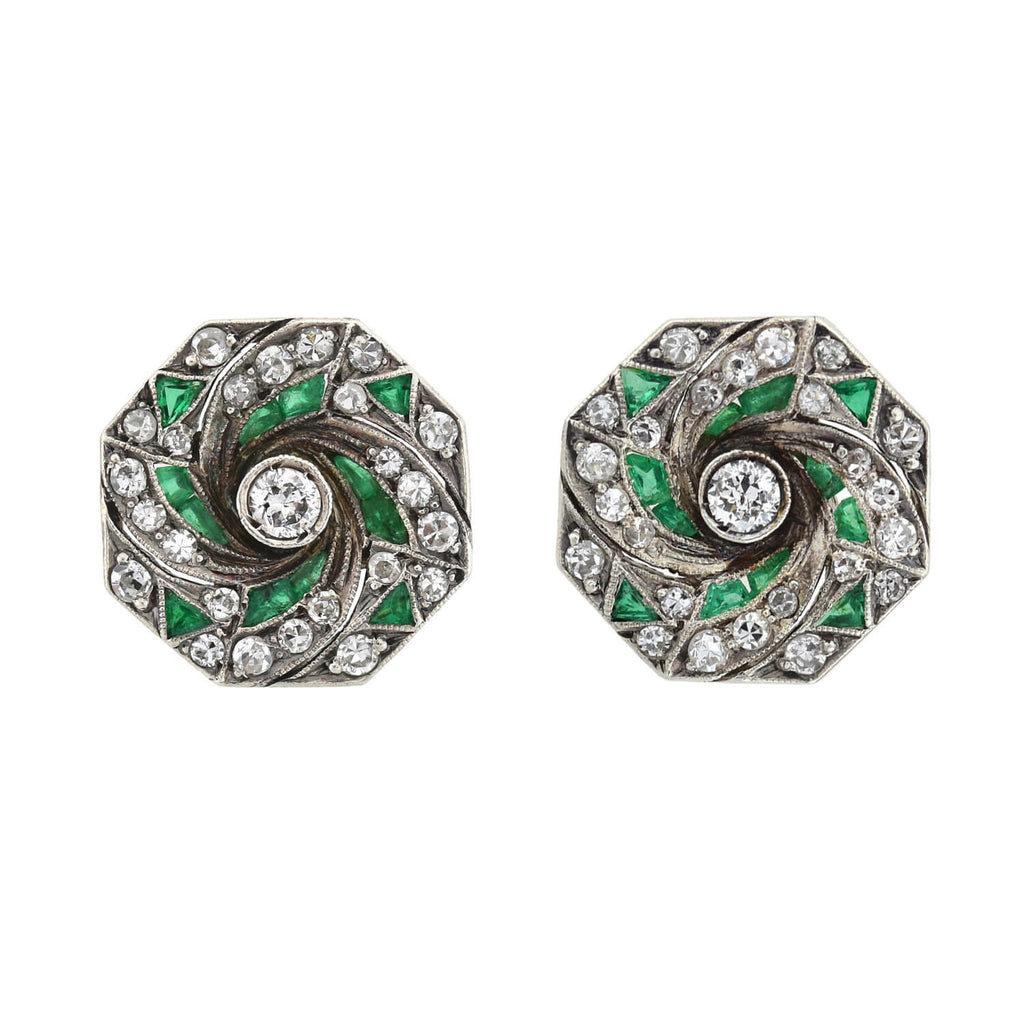 Late Art Deco 14kt/Sterling Diamond + Emerald Stud Earrings