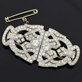 Art Deco Platinum & Diamond Encrusted Pin/Fur Clips 3.51ctw