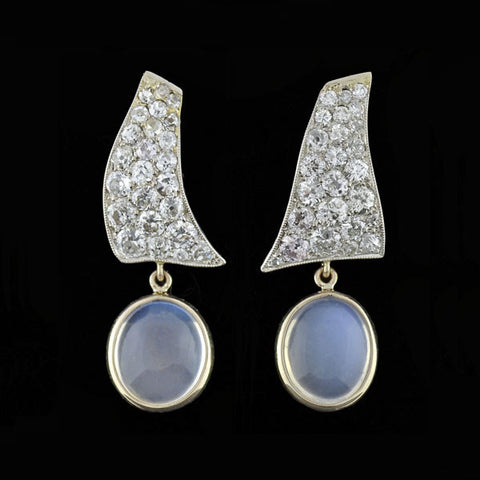 Edwardian 18kt & Platinum Diamond Earrings
