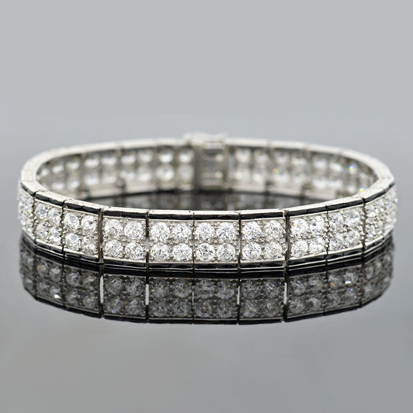 Art Deco Platinum Diamond & Onyx Double Row Line Bracelet 10ctw