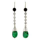 Art Deco Platinum Emerald, Diamond & Onyx Drop Earrings 4ctw