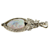 Art Nouveau 18kt Diamond Opal Heart Pendant