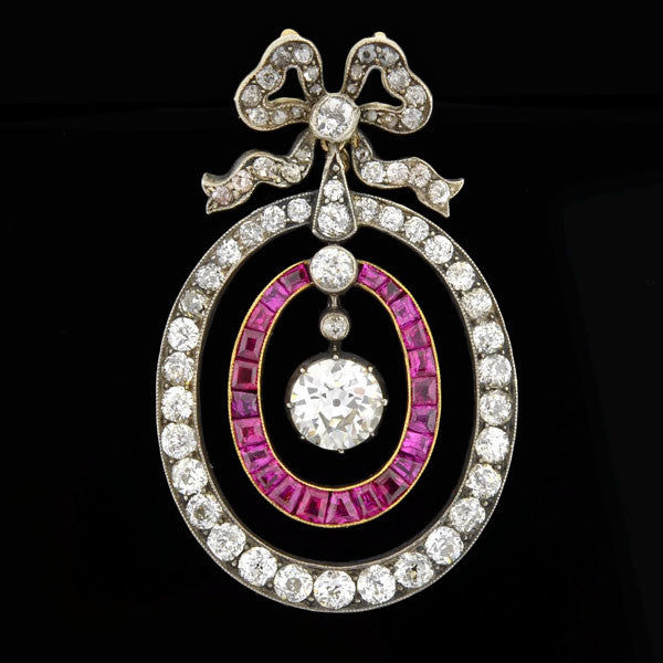 Early Victorian 18kt & Sterling Diamond Ruby Bow Pendant
