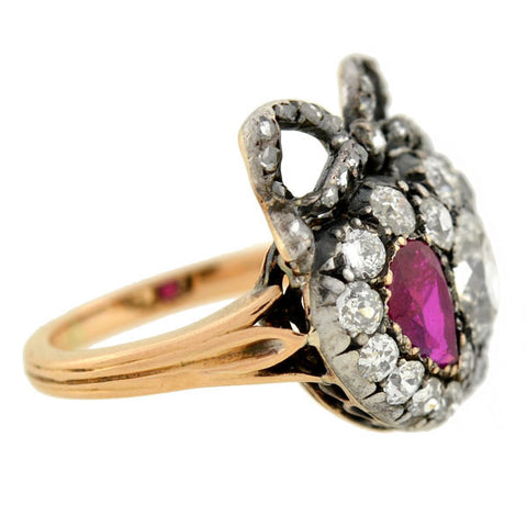 Victorian Silver Topped 15kt Ruby Diamond Double Heart Ring