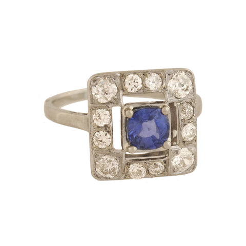 Edwardian French Platinum Sapphire + Diamond Square Ring 1.97ct center