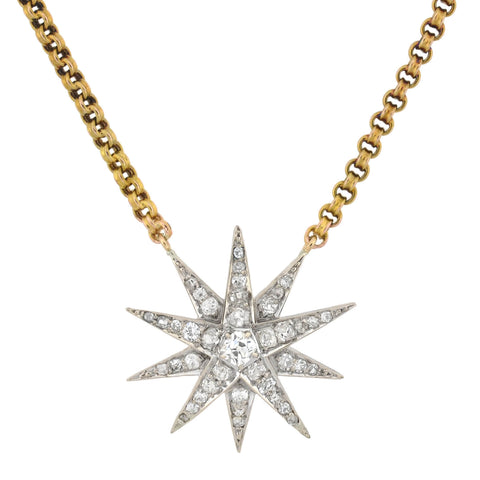 Edwardian 14kt Diamond Starburst Pendant Necklace 1.50ctw