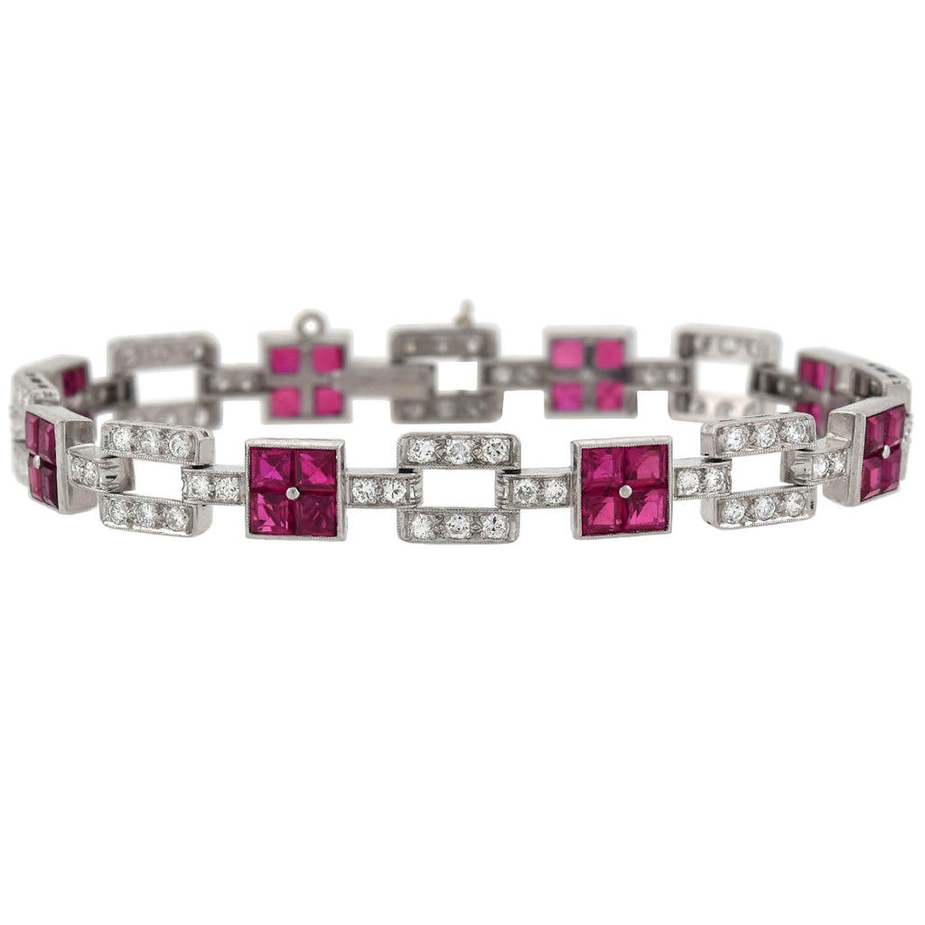 Art Deco Platinum Diamond + Ruby Link Bracelet 1.25ctw